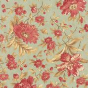 Moda Larkspur by 3 Sisters - 4454 - Garden Blooms, Pink Floral on Duckegg  - 44100 14 - Cotton Fabric